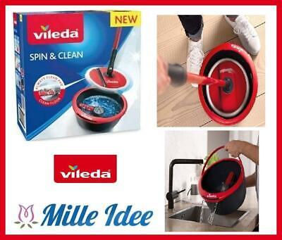 VILEDA SPIN & CLEAN lava pavimenti con secchio mocio in microfibra lavapavimenti