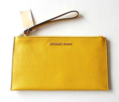 NEW Michael Kors Jet Set Large Zip Clutch Wristlet Bag In Jasmine Yellow Leather