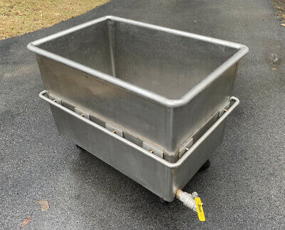 Heavy Duty Stainless Steel Meat Brine Dough Transport Cart Tub Tank Vat W Drain