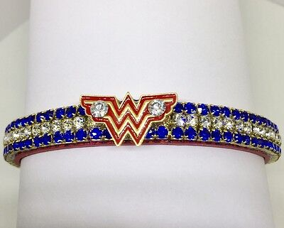 Wonder Woman Red Rhinestone Dog Pet Cat Necklace Collar USA