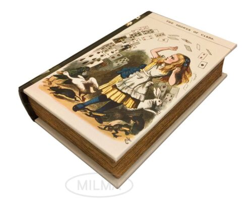 The Shower of Cards from Alice in Wonderland Book Box Leather Over Wood