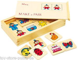 Großes Memo Memory-Spiel 32 große Teile Holz im Holzkasten # 7095  NEU