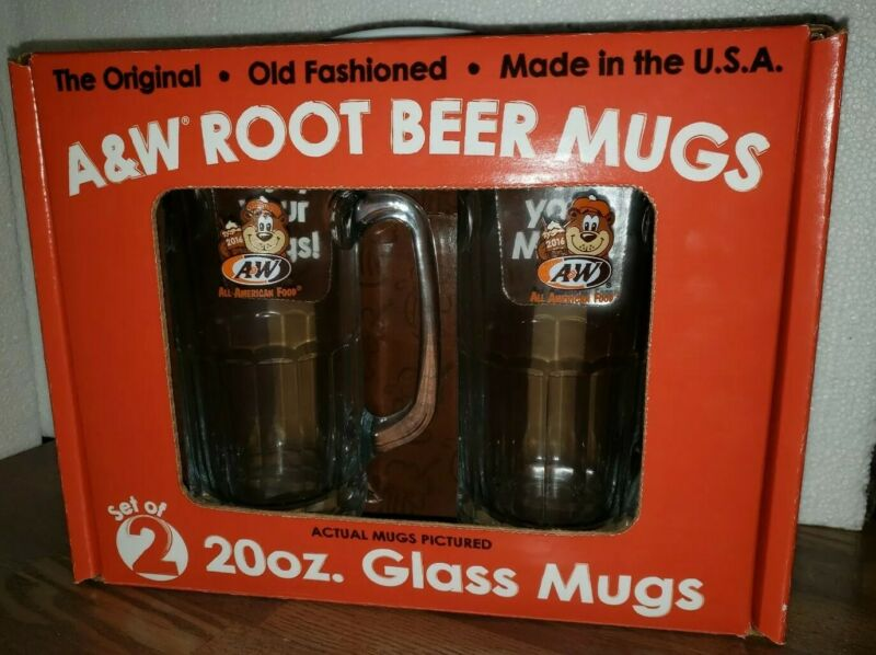 "A & W Root Beer Mug All American Food 7"" Tall 2016 Rooty Bear Box Set of 2 Rare"