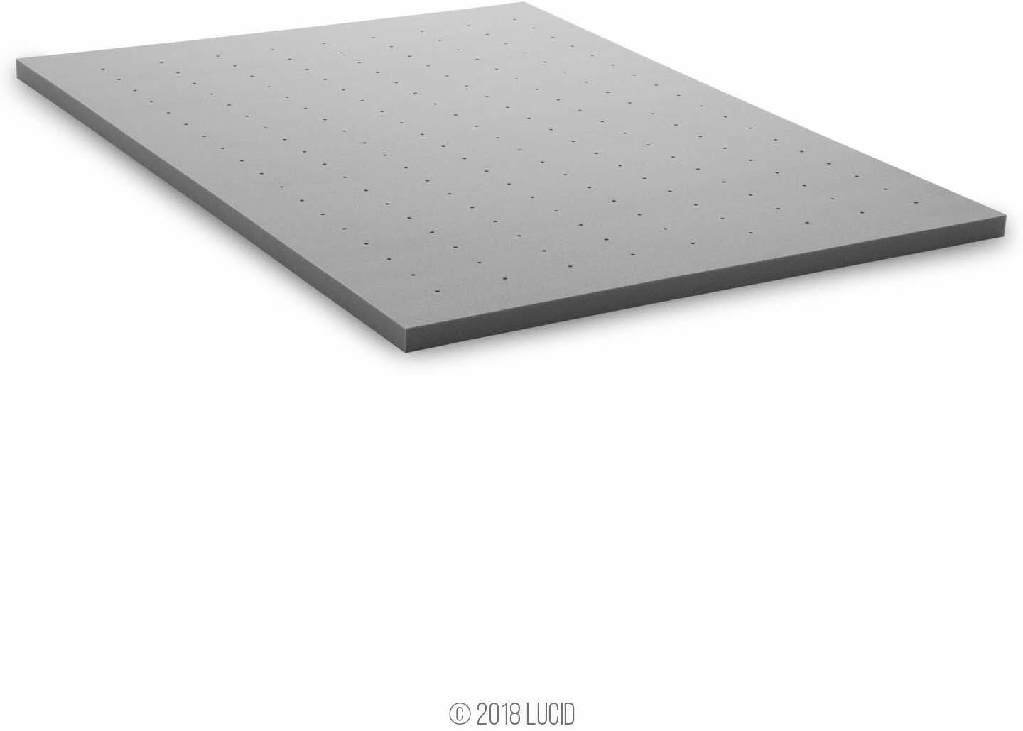 Lucid 2 Inch Bamboo Charcoal Memory Foam Mattress Topper - F