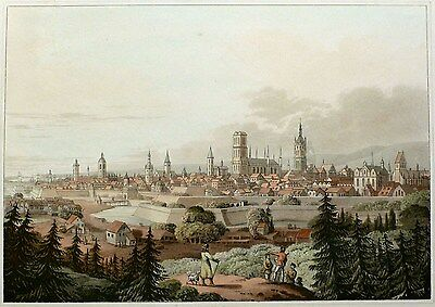 DANZIG   GDANSK - Gesamtansicht - Robert Bowyer - Aquatinta 1814