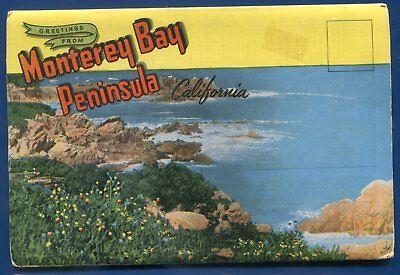 Monterey Bay Peninsula California Ca Pacific Grove Linen Postcard Folder