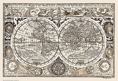 World Map 1628 reproduction - old / vintage  83x57cm, 32x22ins