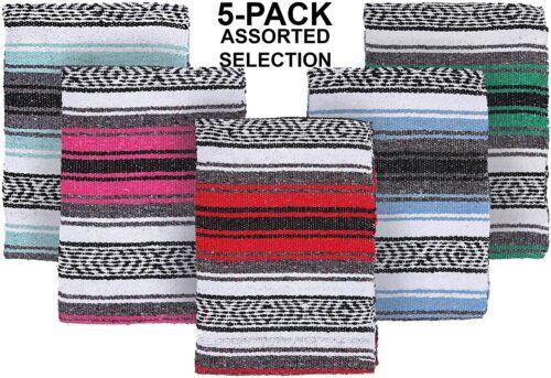 El Paso Designs - Random Color Mexican Yoga Blankets (5-Pack) - 51 x 74 inches