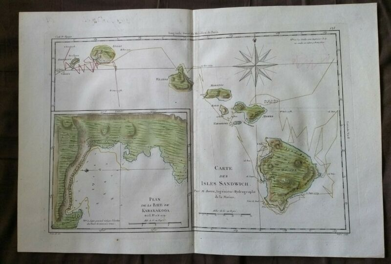 Bonne Carte De La Isles Sandwich (1780) Hawaiian Islands Map Hand Colored Cook
