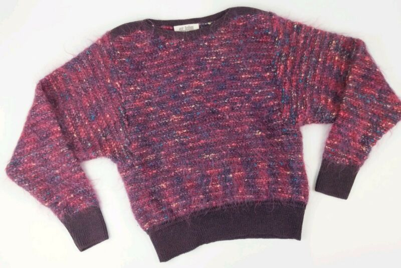 Vintage ST JOHN Mohair Sweater Fuzzy Angora Small S Dolman Sleeve Confetti EXC