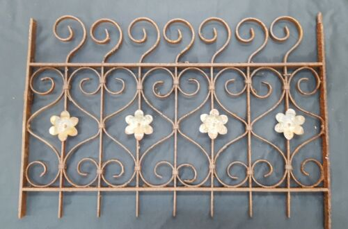 Architectural Salvage Wrought Iron Window Grate with Scrolls & Flower Petals