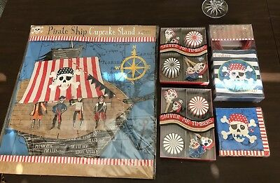 PIRATE THEME BOYS PARTY SUPPLIES NAPKINS BAGS CUPCAKE TOPPERS AND STAND ~ MERI - Boys Party Themes