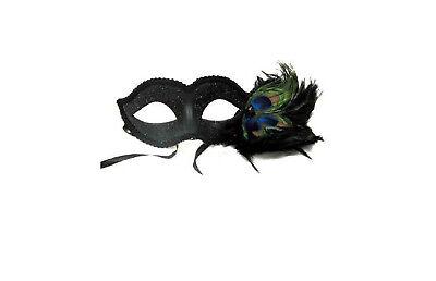 Black & Glitter Peacock Masquerade Mask w/ Feather Women Venetian party sexy Fun - Masquerade Peacock Masks