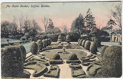 SAFFRON WALDRON - The Dutch Garden - Topiary - Essex - 1909 used postcard