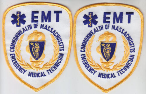 Massachusetts Gold EMT Emergency Medical Technician 2 PATCHES Commonwealth of MA