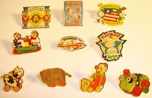 FISHER PRICE TOYFEST PIN BUTTON LOT POPEYE RAGGEDY ANN TRAIN ~ BUY 1 GET 1 FREE