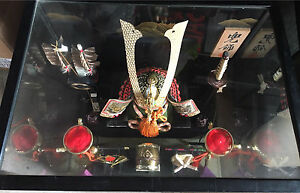 Japanese Samurai ceremonial helmet & weapons display