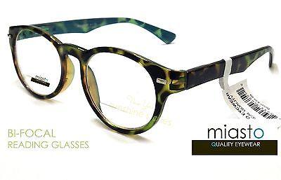 ~LOT OF 2~  MIASTO BIFOCAL RETRO ROUND CLEAR READER READING GLASSES GLASSES+2.50