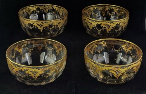 Four Josephinenhutte Gold Encrusted Antique Crystal Finger Bowls Paneled