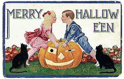 Merry Halloween -BOY & GIRL ABOUT TO KISS-IAP Postcard JOL/Black Cat/Apples