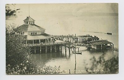 Tacoma, WA - SCARCE 1919 RPPC - PT DEFIANCE PARK PAVILION - HARBOR & BOATS - P
