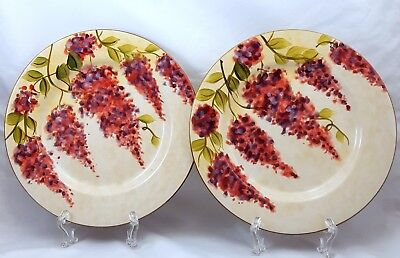 "Wisteria Dinnerware Salad Plates 8.5"" Set of 2 Pink Purple by Heritage Mint"