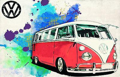 Blechschild 20 x 30 cm, VW Bus, Nostalgie