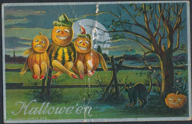 1911 HALLOWEEN PUMPKINS & BLACK CAT ~ Antique POSTCARD BROOKLYN NY ~ POSTMARKED