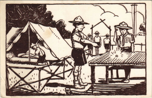PC SCOUTING, IN THE CAMP, Vintage Postcard (b28486)