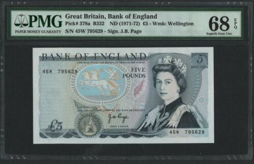 Great Britain,Bank of England,P378a,1971-72,5 Pounds,PMG 68EPQ