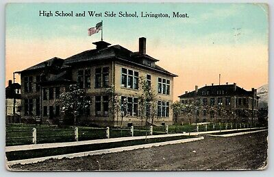 Livingston Montana~High School~West Side School Buildings~Dirt Road~1912 PC