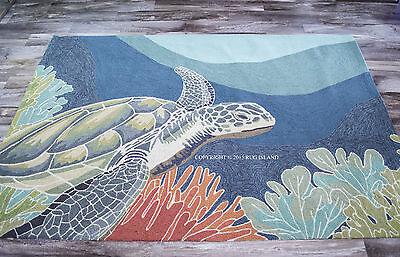 "5x8 (5' x 7'6"") Tropical Coastal Ocean Turtle Indoor Outdoor Area Rug"