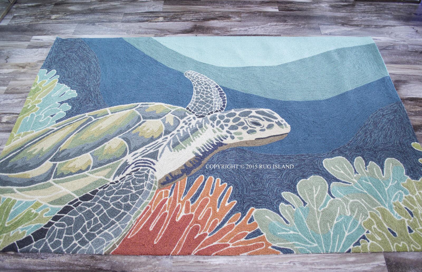 4x6  Tropical Coastal Ocean Turtle Indoor Outdoor Area Rug