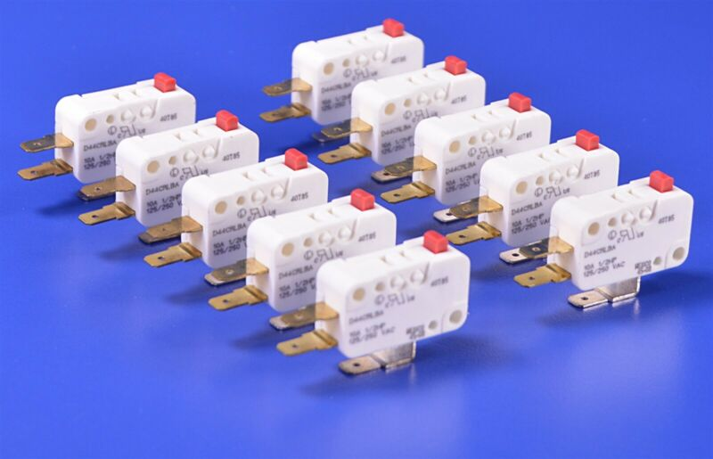 10 Cherry D4 Miniature Snap-Action Switches P/N: D44CRLBA