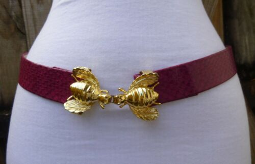 Vtg  Brass Tone Textured Double BEE Buckle w/Faux. Leather Fushia Color  Belt