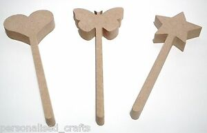 Wooden 18mm MDF Magic Wand With Star Heart Or Butterfly