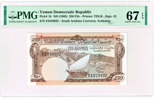 Yemen Democratic Republic: 250 Fils ND (1965) Pick 1b PMG Superb Gem Unc 67 EPQ.