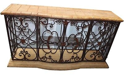 Rustic Mediterranean Style Wrought Iron Wine Rack Buffet with Faux Marble Top