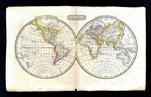 c.1821 Jedidiah Morse Map World in Hemispheres - North South America Europe Asia