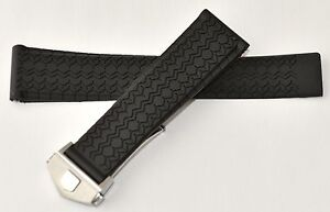 22mm for Tag Heuer Carrera Monaco Silicon Rubber Band Strap w/ Deployment Clasp