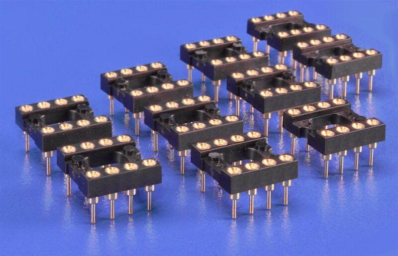 10 (Ten) 8-Pin DIP IC Sockets High Reliability Gold-Plate 555 Timer