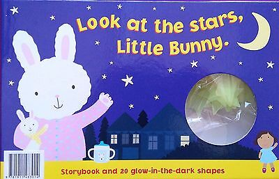 LOOK AT THE STARS LITTLE BUNNY - STORYBOOK & GLOW-IN-THE-DARK SHAPES - GIFT  NEW