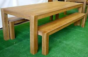 New 2400 Chunky Timber Outdoor Furniture 3 Pc Table Bench Seats Melbourne CBD Melbourne City Preview