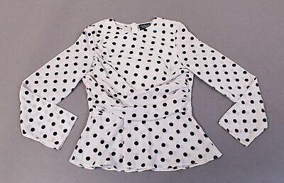 Reclaimed Vintage Women's Drape Front Long Sleeve Top HD3 Polka Dot Size US:10