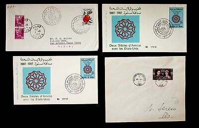 MOROCCO 1937-87 TWO CENTURIES OF FRIENDSHIP WITH US 3 FDCs+ COVER W/ 4v 1 TO USA