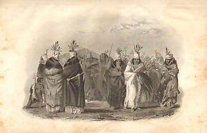 Karl Bodmer, Mandan Women, Dancing, Native American, 1846 Antique Art Print