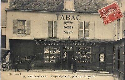 CPA Luzarches, Tabas-épicerie, Attelage, Animé, Val-d'Oise 95, vieille boutique segunda mano  Embacar hacia Argentina