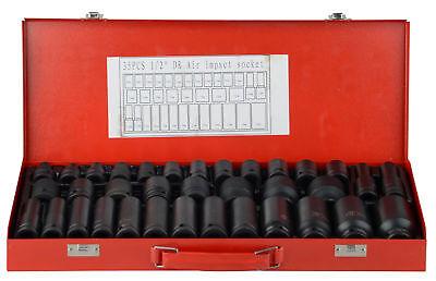 "35pcs 1/2"" Drive Deep Impact Metric Socket Set Car Garage Tools"