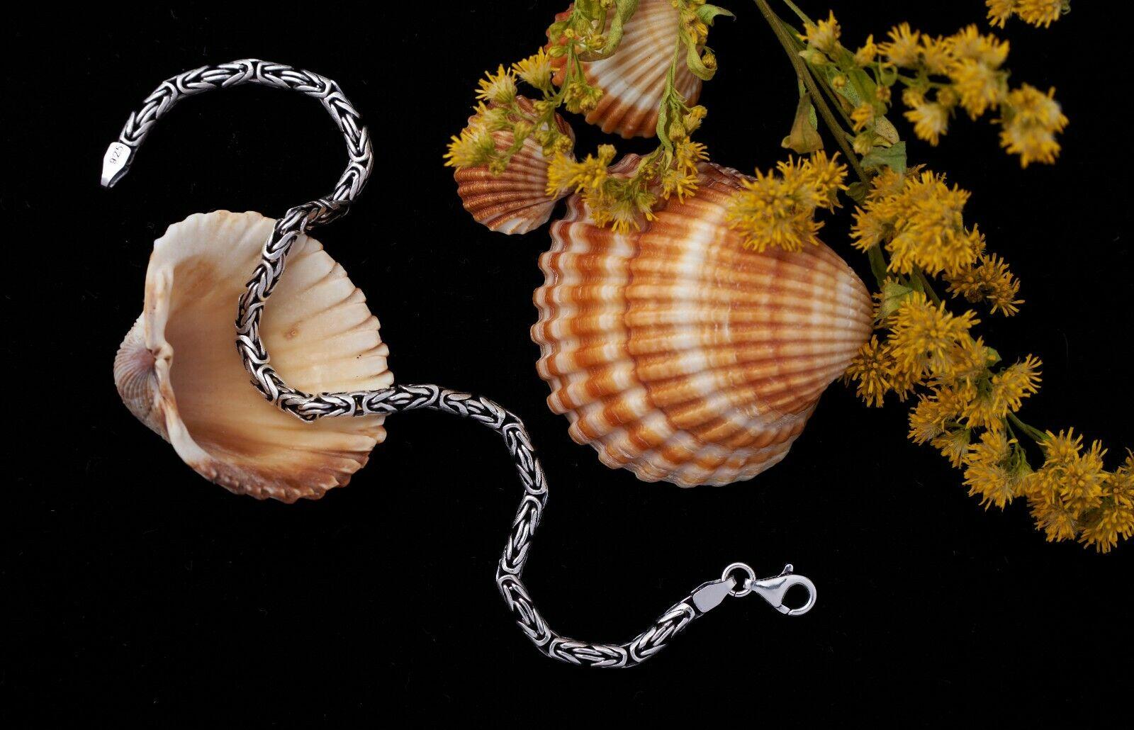 2.5mm Handmade 925 Sterling Silver Byzantine Chain Bracelets