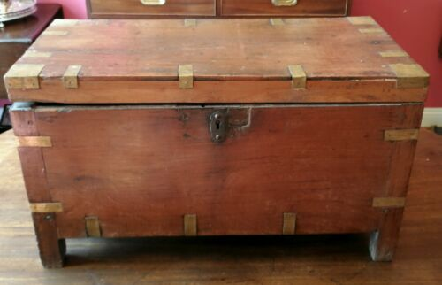 antique British Colonial campaign sea chest Ango-Indian brass corners for restor